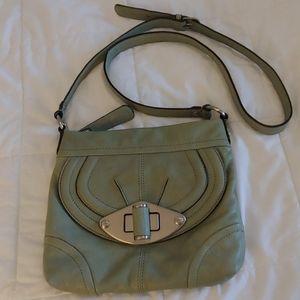B. Makowsky Sage Green Leather Crossbody